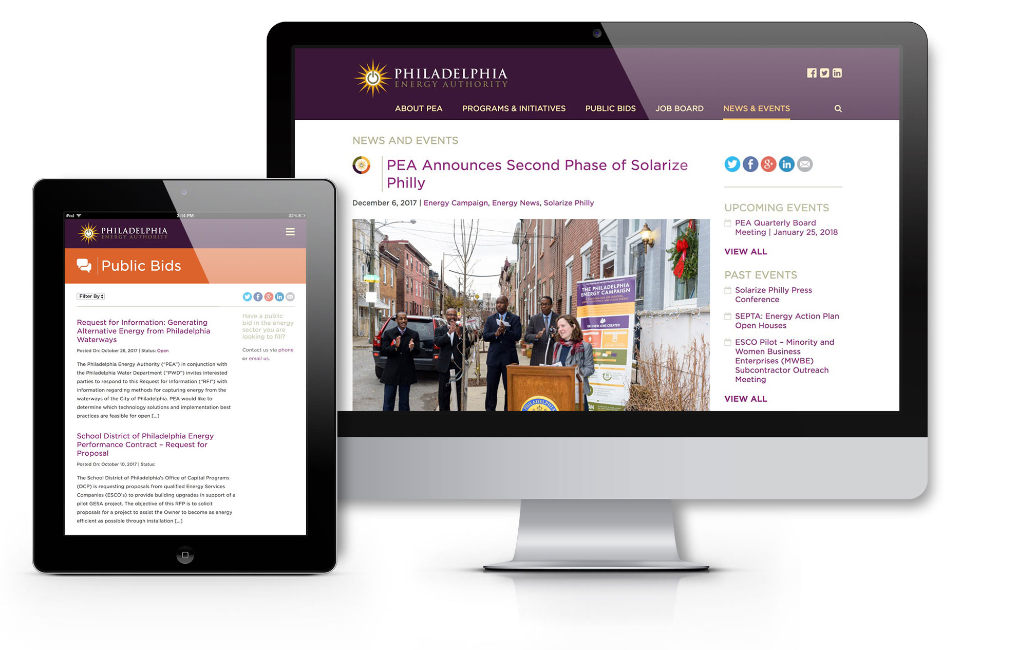 PEA responsive website design