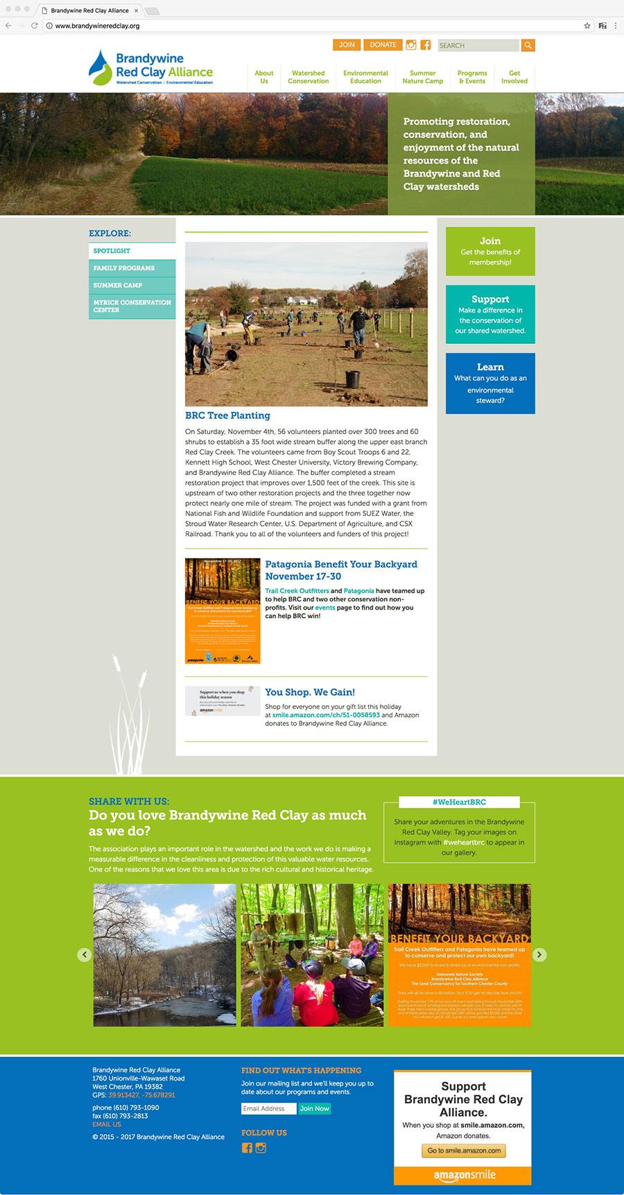 Brandywine Red Clay Alliance Homepage Design