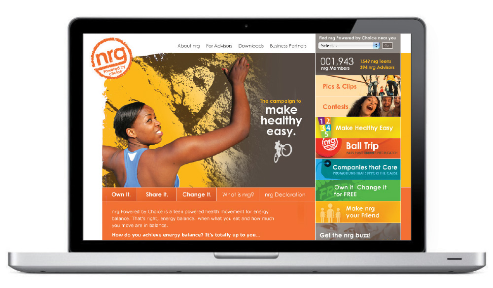Website design for NRG Campaign