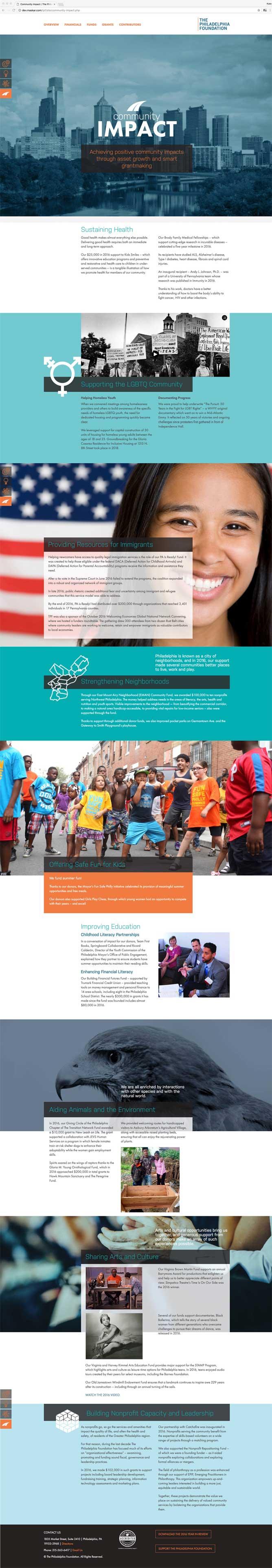 Website design for the Philadelphia Foundation 2016 annual report