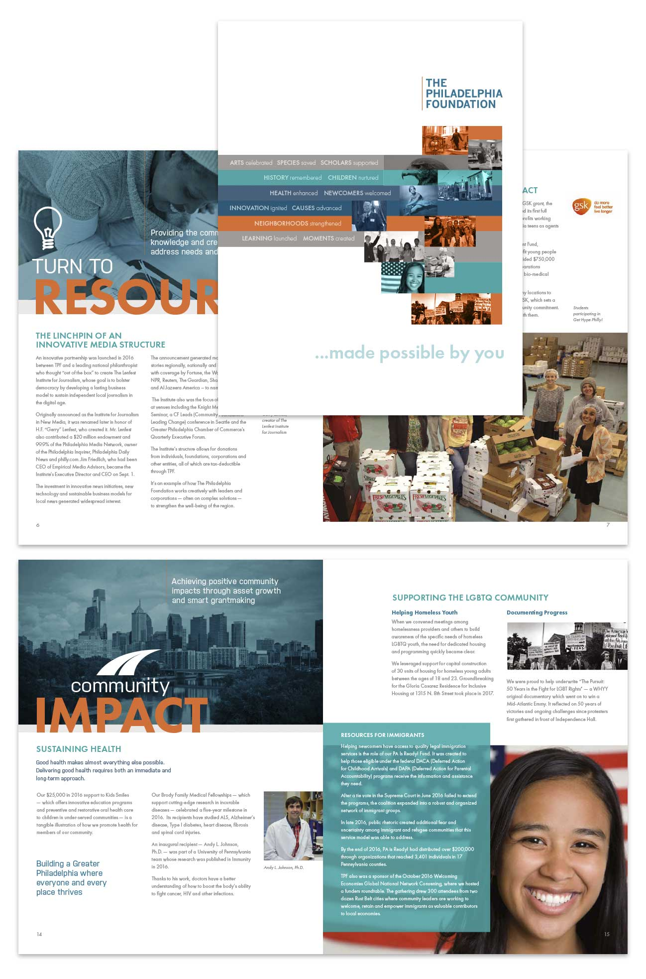 Annual report design for The Philadelphia Foundation