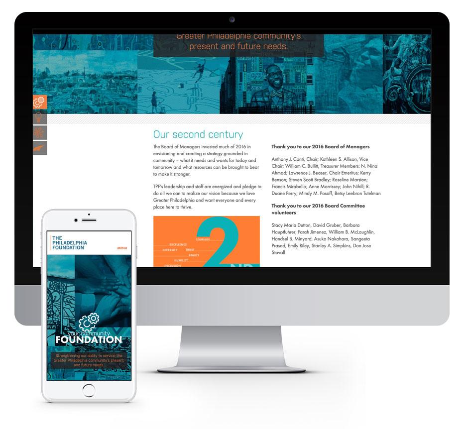 Responsive website design for the Philadelphia Foundation 2016 annual report