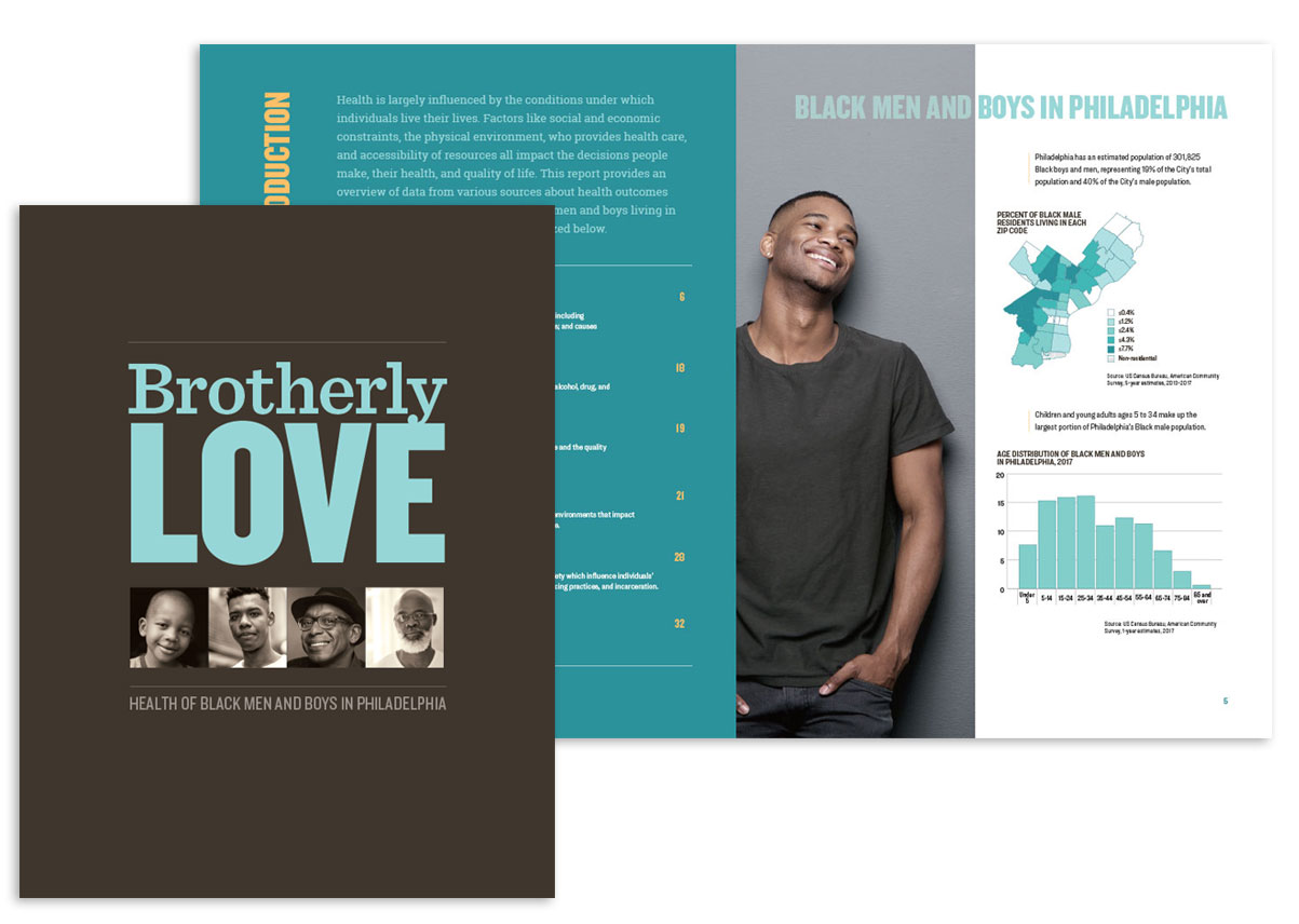 Cover and spread for the Brotherly Love report