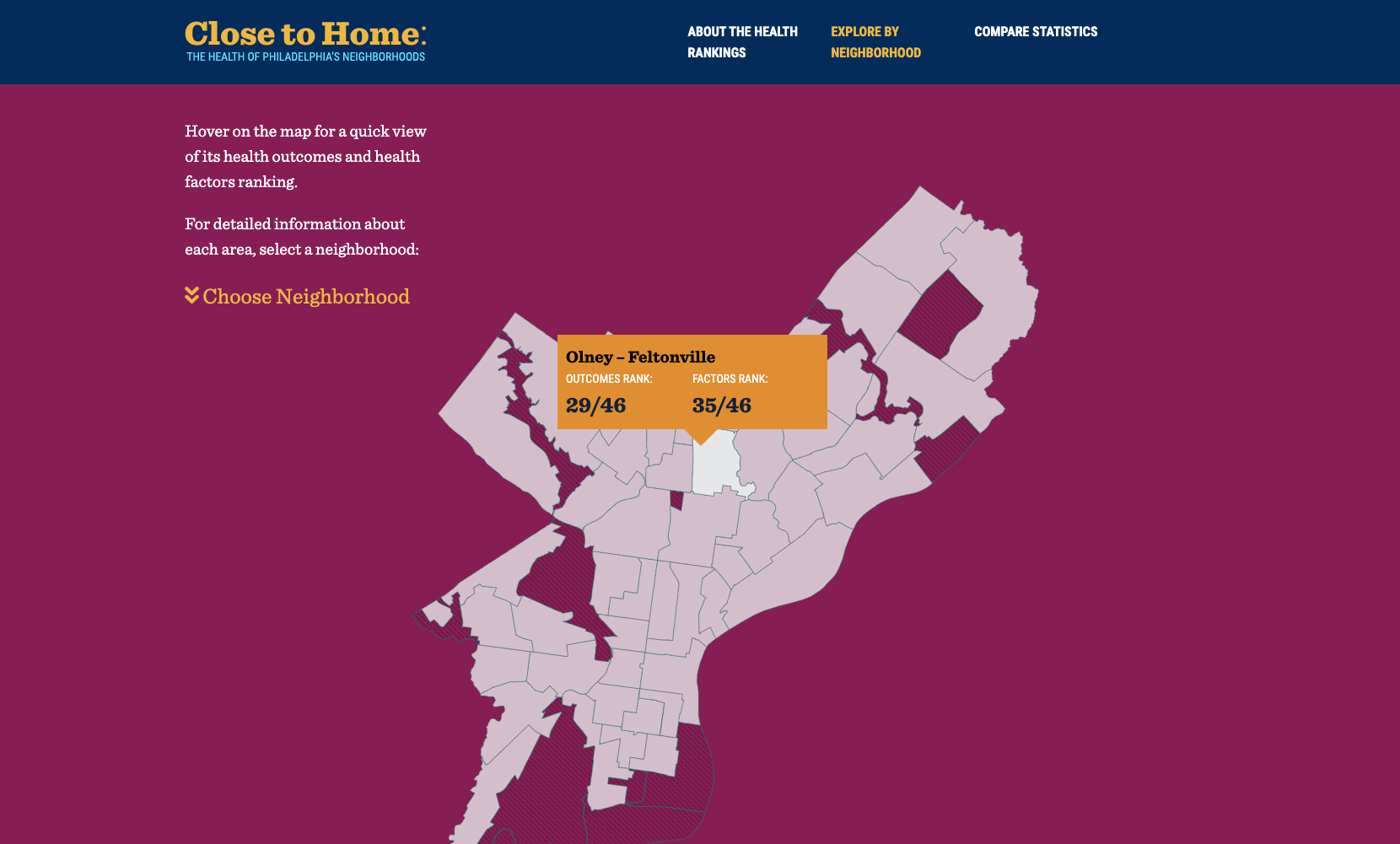 Close to Home website design with interactive map