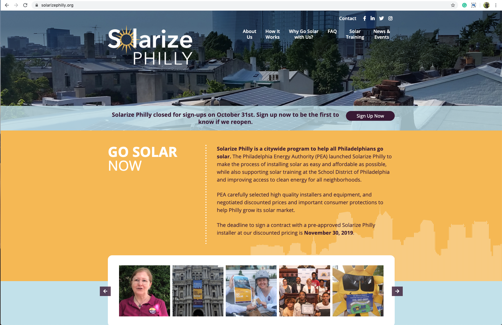 Solarize Philly Homepage Design