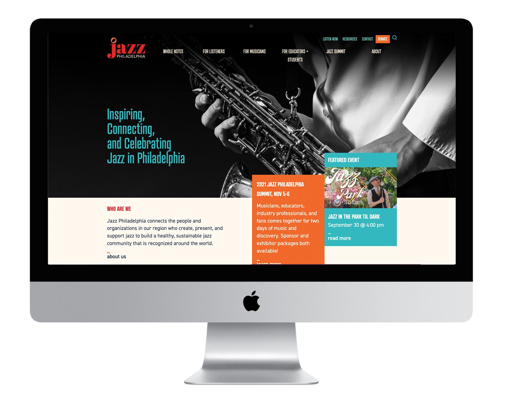 Computer with Jazz Philadelphia Homepage